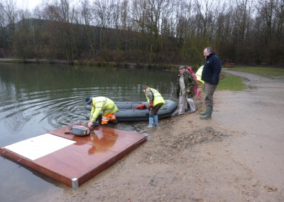 Putting the raft together.