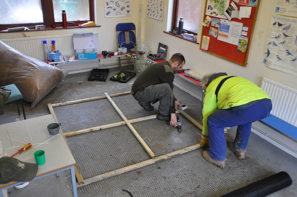 Preparing the framework for the island.
