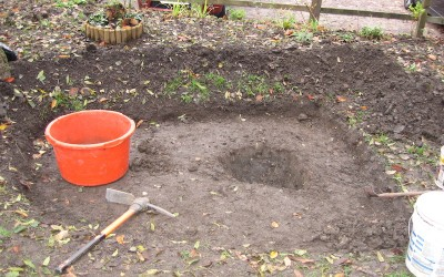 October – 2015 – We add a pond for the wildlife.